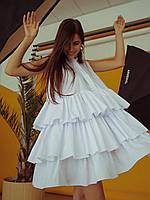 Белое платье с воланами