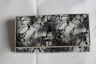 """Лакований шкіряний гаманець сірого кольору """"Somuch"""""""