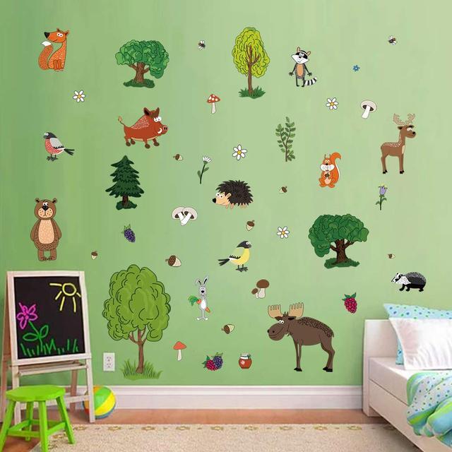 Детские наклейки для творчества Лесные животные 50 шт премиум