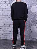 Свитшот Supreme 19733 черный с красными лампасами, фото 3