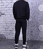 Свитшот Adidas 19736 черный с белыми лампасами, фото 3