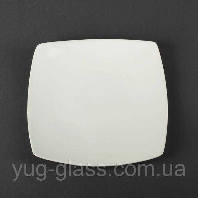 Тарілка 22 см дрібна квадратна біла