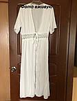 Пляжный белый халат средней длины - S (бюст 84см, талия 65см, длина 120см), 35%cotton, 65%полиэстер, фото 9