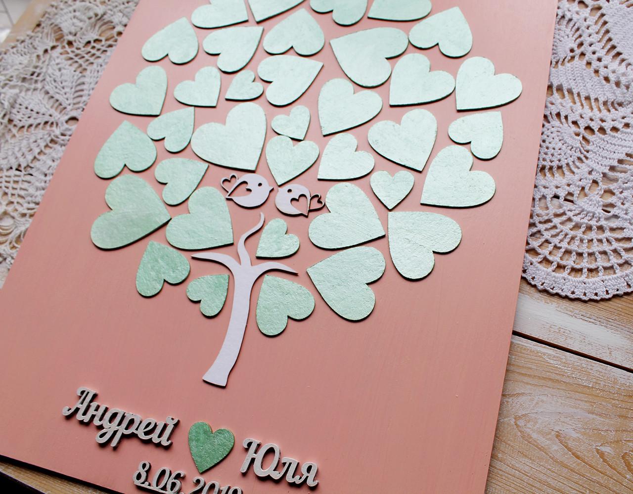 Дерево пожеланий (Размер рамки 30х40 см, 30-35сердечек)
