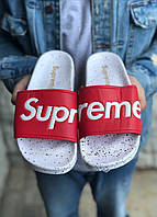 Мужские сланцы Supreme (red/white), шлепанцы Supreme, тапочки Supreme, мужские шлепанцы Суприм