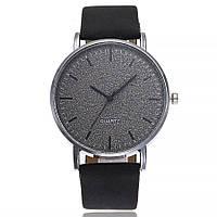 Женские стильные часы  кожаный ремешок (Чёрные)