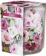 Свеча ароматизированная в стекле Bispol Розы 7,8 см (sn72s-02)