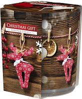 Свеча ароматизированная в стекле Bispol Рождественский подарок 7,8 см (sn72s-07)