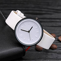 Женские модные часы  кожаный ремешок (Белые)