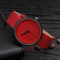 Женские модные часы  кожаный ремешок (Красные)
