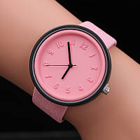 Женские модные часы  кожаный ремешок (Розовые)