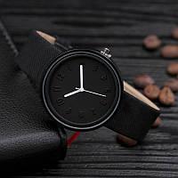 Женские модные часы  кожаный ремешок (Чёрные)