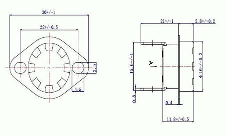 Термореле KSD 301 (термостат) 10A, 250V, 115°C NC, фото 2