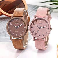 Женские модные часы  Jhui  кожаный ремешок (Нежно-розовые)
