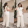 Шикарный женский брючный костюм пиджак под пояс с карманами  48-50, 52-54, 56-58, фото 3