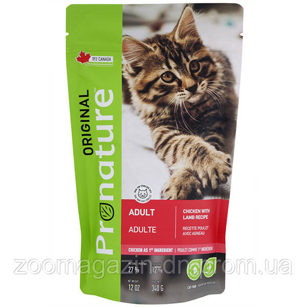 PRONATURE ORIGINAL CAT CHICKEN LAMB ПРОНАТЮР ОРИДЖИНАЛ КУРИЦА С ЯГНЕНКОМ КОРМ ДЛЯ КОТОВ 340ГР
