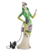 """Фарфоровая статуэтка Девушка """"Камелия"""" с собачкой (Pavone) JP-98/22"""