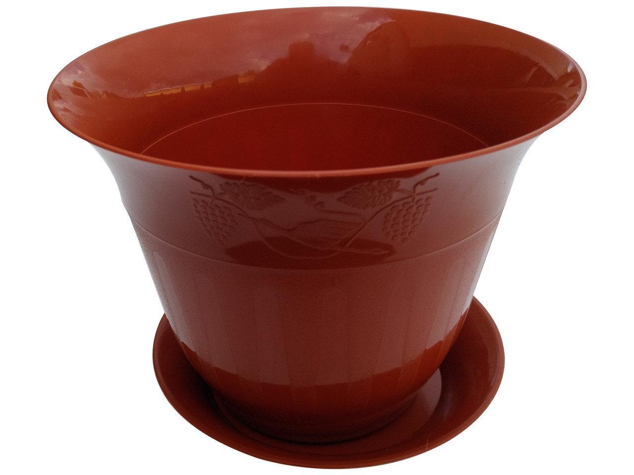 Горшок для цветов Молдавия с подставкой 7 л коричневый