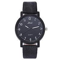 Женские модные часы Jhui  кожаный ремешок (Чёрные)