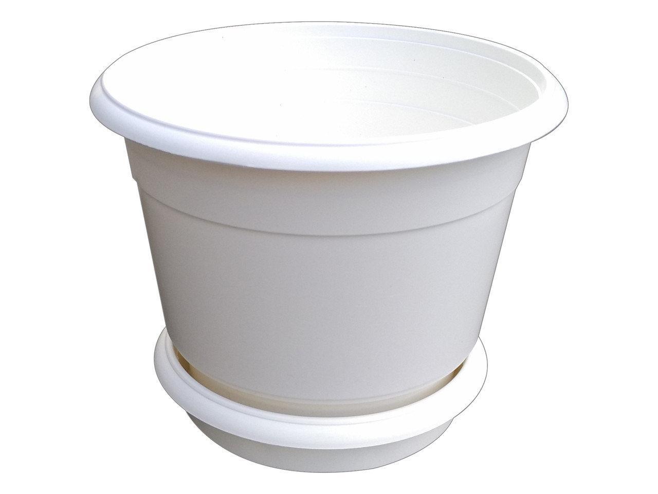 Горшок для цветов Ø 250 мм с подставкой 5,5 литра белый (Юнипласт, Харьков)