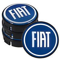 Заглушка колесного диска Fiat 60x55  синий ABS пластик  (4шт.) (D)