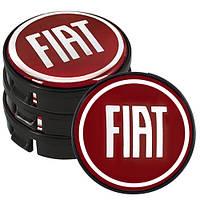Заглушка колесного диска Fiat 60x55  красные ABS пластик  (4шт.) (D)