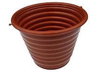 Горшок для цветов ребристый Ø 170 мм 1,5 литра коричневый (Юнипласт, Харьков), фото 1