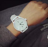 Женские и Мужские часы MILER силиконовый ремешок (Белые)