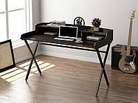 Письмовий стіл для дому та офісу L-10 Loft Design Чорний Матовий / Венге Корсика