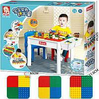 Детский игровой столик Sluban M38-B0728 со стульчиком, 3 в 1, поле для сборки конструктора, песочница