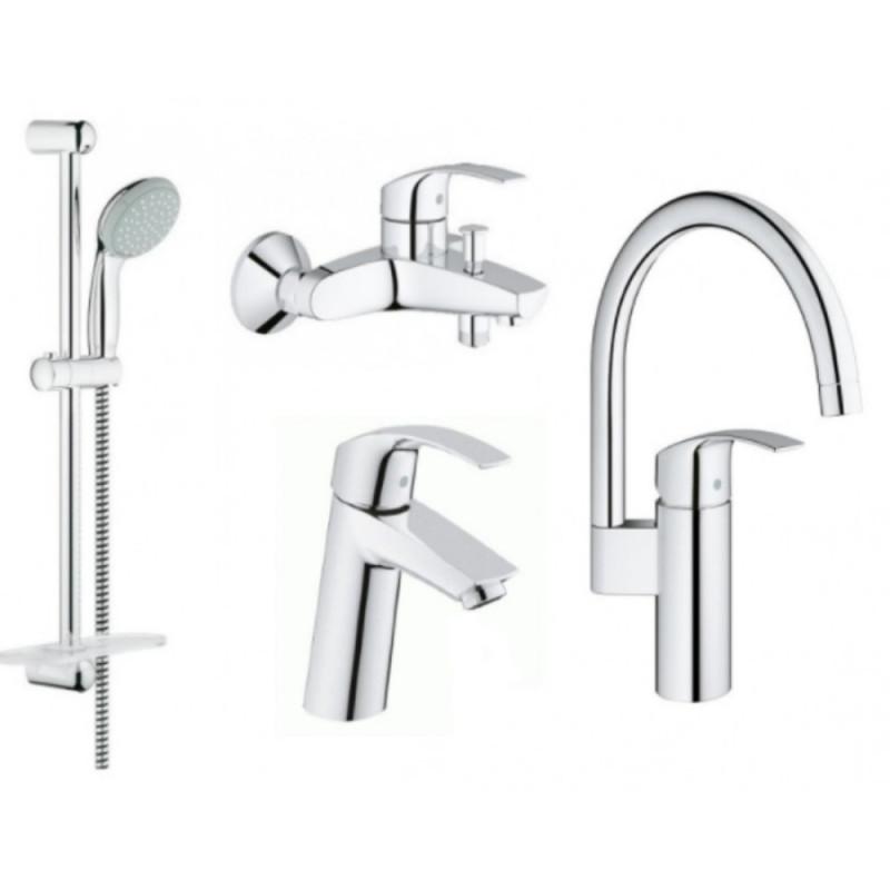 Набор смесителей для кухни, умывальника, ванны и душевая стойка Grohe