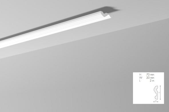 Карниз(плинтус) потолочный гладкий NMC , N  , лепной декор из пенопласта