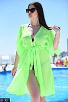 Женская укороченная легкая летняя пляжная туника с коротким рукавом (шифон) много цветов (батал)