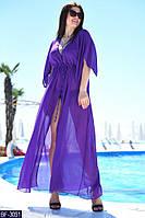 Женская длинная легкая летняя пляжная туника с коротким рукавом (шифон) много цветов (батал)