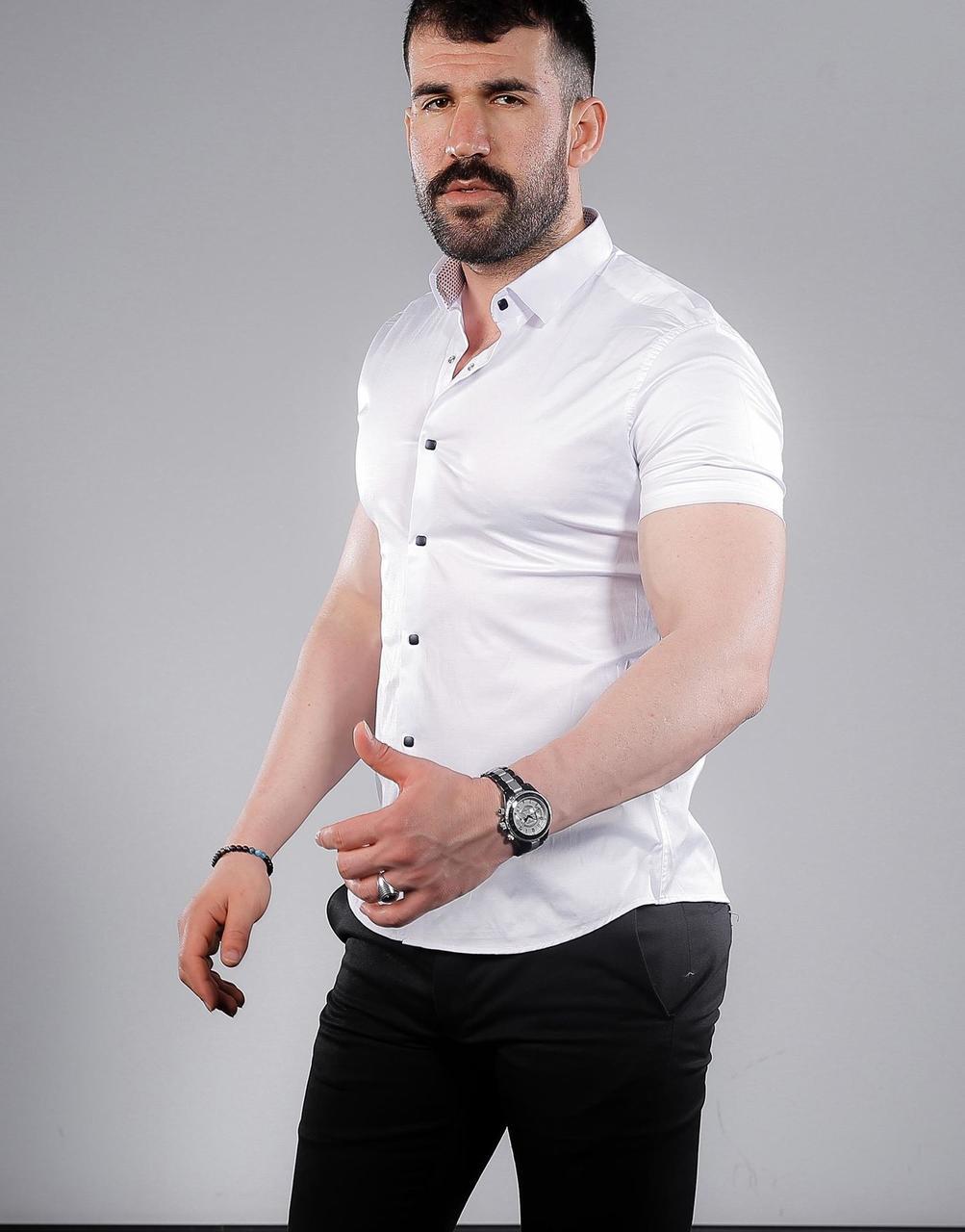 Біла приталені чоловіча сорочка