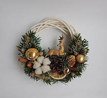 Новогодний венок с оленем на дверь (959003)