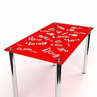 """Яркий красный стеклянный стол """"Мия"""""""