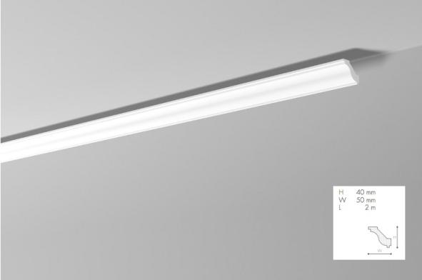 Карниз(плинтус) потолочный гладкий  NMC, H  , лепной декор из пенопласта
