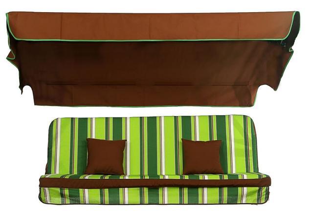 Мягкий комплект для качелей VIRGINIA темно-светлые зеленые полоски 380 7987-26В, тент т. коричневый 2714