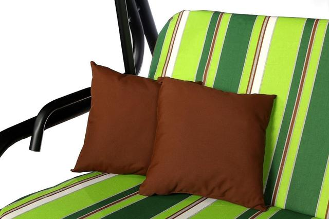 Мягкий комплект для качелей VIRGINIA темно-светлые зеленые полоски 380 7987-26В, тент т. коричневый 2714 (2)