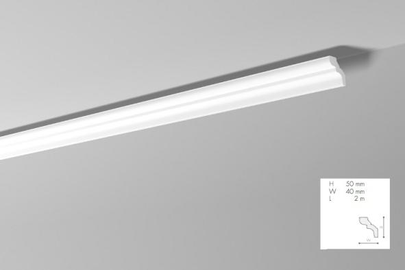 Карниз(плинтус) потолочный гладкий  NMC, D  , лепной декор из пенопласта