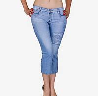 Джинсовые бриджи женские Узор на ноге Размер 40 - 44