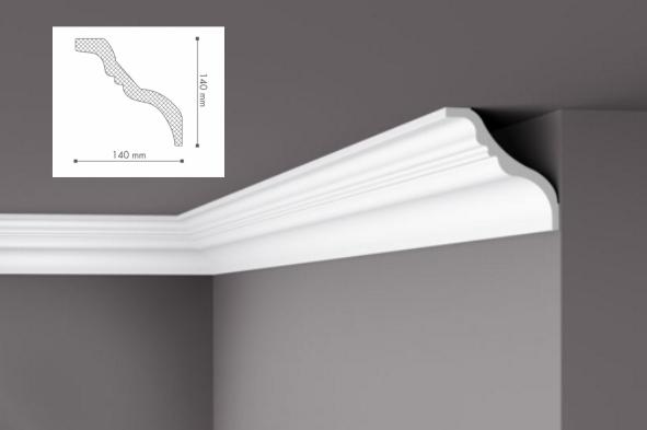 Карниз(плинтус) потолочный гладкий  NMC, TI  , лепной декор из пенопласта