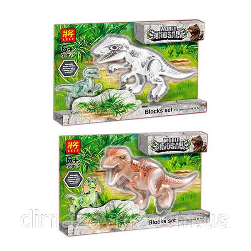 """Конструктор Lele 39097 (АналогLegoJurassic World) """"Парк юрского периода Динозавры 2 шт"""" 2 вида28 и 11 см"""