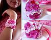 """""""Яркая малина"""" браслет на руку с цветами из полимерной глины"""