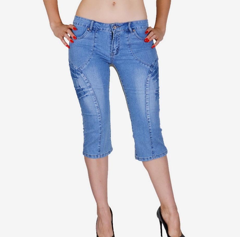 Бриджи женские джинсовые Боковые вставки Размер 40