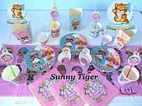 """Набор для детского дня рождения """"Куклы ЛОЛ"""". Комплект из 7 наименований для сервировки стола"""
