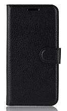 Кожаный чехол-книжка для Huawei Y5 2019 черный
