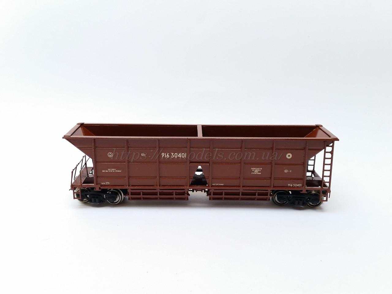 Модель вагона 4-осный хоппер для перевозки угля, модель 22-4003, СЖД, H0,1/87