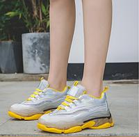 Кроссовки женские с сеточкой желто-серого цвета Размер 37,38 (маломиркы)